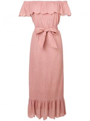 Платье с оторочкой из рюшей Marysia. Цвет: розовый и фиолетовый