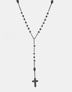 Icon Brand Ожерелье с бусинами и подвеской-крестиком. Цвет: черный