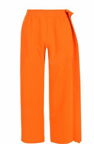 Хлопковые брюки с эластичным поясом Mm6. Цвет: оранжевый