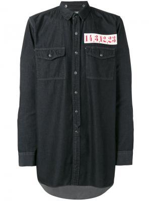 Джинсовая рубашка с нашивкой Maison Mihara Yasuhiro. Цвет: чёрный