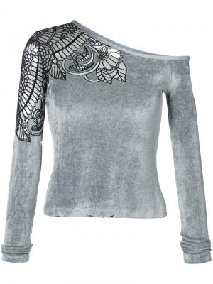 Асимметричная блузка с вышивкой Yigal Azrouel. Цвет: серый