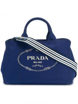 Большая сумка-тоут Giardiniera Prada. Цвет: синий