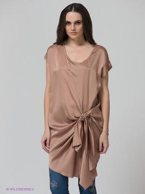 Платье-туника BSB. Цвет: бежевый