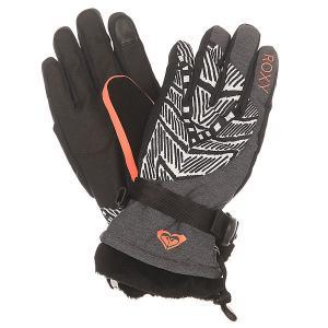 Перчатки сноубордические женские  Merry Go Gloves Mauritius Daze Egret Roxy. Цвет: серый,черный,белый