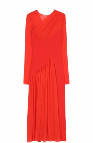 Приталенное платье-миди с драпировкой Emilio Pucci. Цвет: красный
