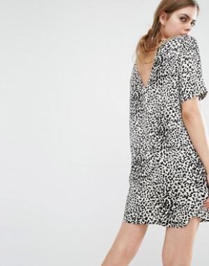 Suncoo Платье с леопардовым принтом и вырезом на спинке Caleb. Цвет: коричневый