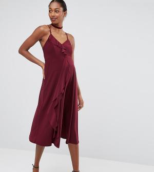 ASOS Maternity Платье миди для беременных на бретельках с оборками WED. Цвет: красный