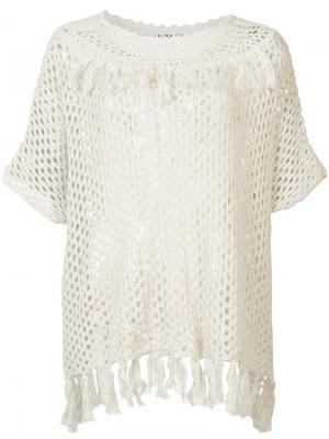 Прозрачная вязаная крючком блуза Trina Turk. Цвет: телесный
