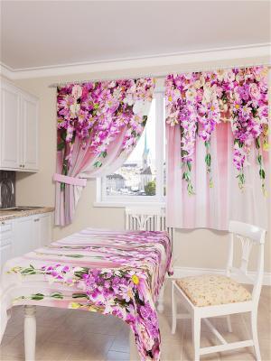 Скатерть 3D Цветочная композиция Сирень. Цвет: розовый, зеленый, фиолетовый