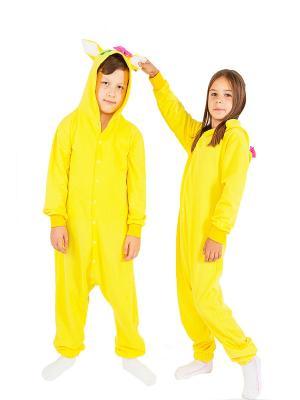 Хлопковая пижама-комбинезон КОШКА желтая HandyWear. Цвет: желтый
