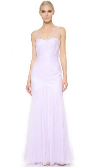 Платье из тюля с V-образным вырезом Monique Lhuillier Bridesmaids. Цвет: лаванда