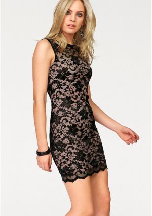 Кружевное платье MELROSE. Цвет: черный/телесный
