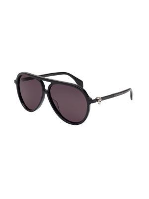 Солнцезащитные очки Alexander McQueen. Цвет: черный, серый