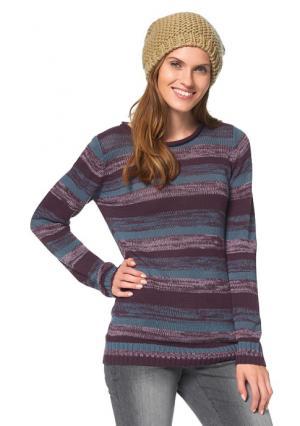 Пуловер CHEER. Цвет: сливовый/лиловый/розовый/зелено-синий в полоску