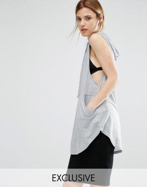 Stitch & Pieces Oversize-топ с капюшоном. Цвет: серый