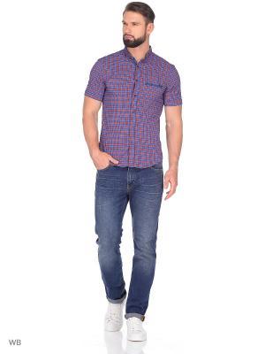 Рубашка AMATO. Цвет: синий, терракотовый