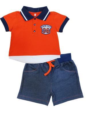 Комплект (футболка короткий рукав + шорты), Гонщик Soni kids. Цвет: оранжевый, темно-синий