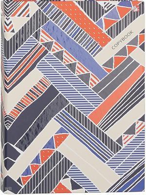 Тетрадь на кольцах 120 листов.Разноцветный узор Канц-Эксмо. Цвет: синий, белый, оранжевый