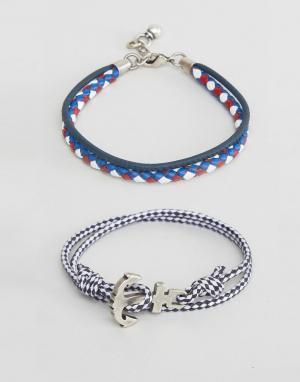 ASOS Набор браслетов в морском стиле. Цвет: темно-синий