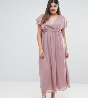 Truly You Шифоновое платье миди с оборками. Цвет: серый