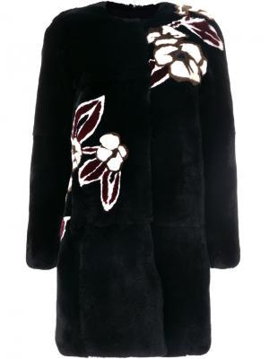 Пальто с цветочным принтом Yves Salomon. Цвет: чёрный