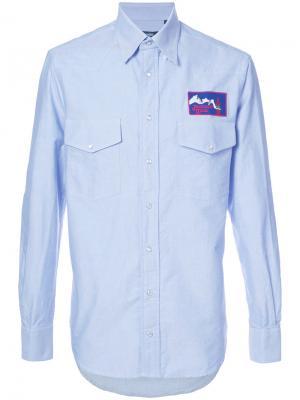 Рубашка с вышитым логотипом Gitman Vintage. Цвет: синий