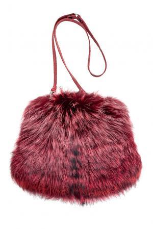 Муфта из меха лисы с ремнем 122300 Mkc. Цвет: красный