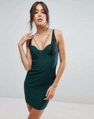 Rare Платье мини с сетчатыми вставками. Цвет: зеленый