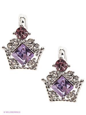 Серьги Royal Diamond. Цвет: серебристый, сиреневый
