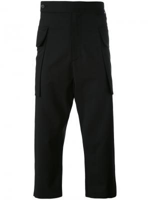 Укороченные брюки с заниженным шаговым швом Odeur. Цвет: чёрный