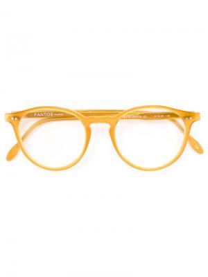 Очки с круглой оправой Pantos Paris. Цвет: жёлтый и оранжевый