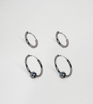 ASOS Набор серег-колец. Цвет: черный