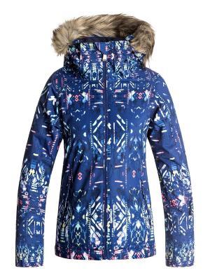 Куртка ROXY. Цвет: синий, светло-желтый, фиолетовый