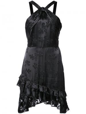 Платье Faye с вырезом-петлей халтер Saloni. Цвет: чёрный