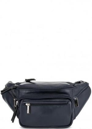 Однотонная кожаная сумка с одним отделом Bruno Rossi. Цвет: синий