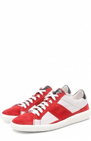 Комбинированные кеды на шнуровке подошве с декором O.X.S.. Цвет: красный