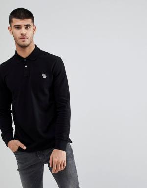 PS Paul Smith Черная футболка-поло с логотипом. Цвет: черный