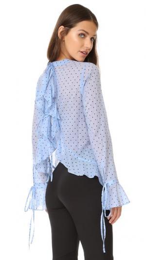 Топ с открытой спиной и рисунком в горошек Robert Rodriguez. Цвет: голубой