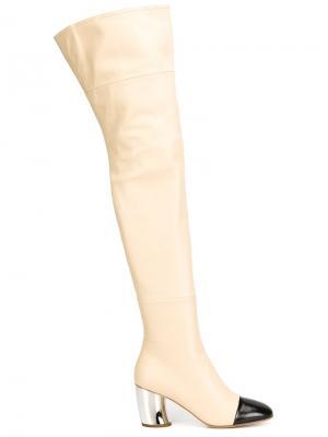 Ботфорты с контрастным носком Proenza Schouler. Цвет: розовый и фиолетовый