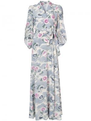 Платье макси с запахом и рукавами-кимоно Co. Цвет: синий