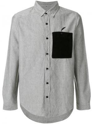 Рубашка с контрастным карманом Publish. Цвет: серый