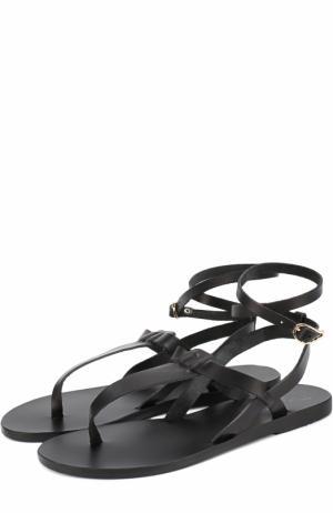 Кожаные сандалии Estia с ремешком на щиколотке Ancient Greek Sandals. Цвет: черный