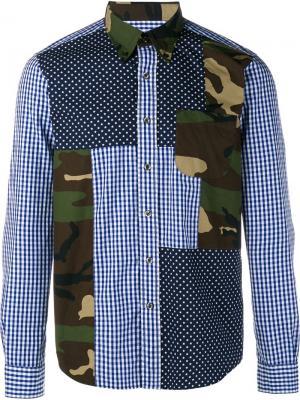 Рубашка со смешанным принтом Sophnet.. Цвет: синий