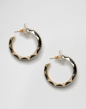 House of Harlow Гравированные серьги‑кольца. Цвет: золотой