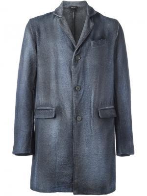 Однобортное пальто Avant Toi. Цвет: серый