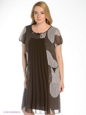 Платье Gemko plus size. Цвет: коричневый, белый
