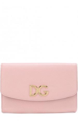 Кожаный клатч на цепочке Dolce & Gabbana. Цвет: светло-розовый