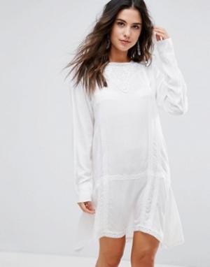 Anmol Удлиненное пляжное платье с вышивкой. Цвет: белый
