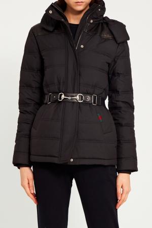 Черная куртка с поясом Gucci. Цвет: черный