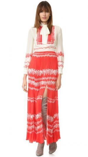 Платье с длинными рукавами и завязками на шее Self Portrait. Цвет: телесный/красный